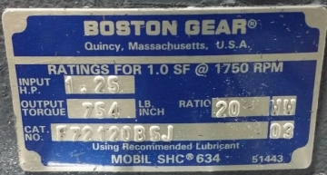 BOSTON GEAR 700 Series F72120B5J Réducteur de vitesse Ratio 20:1-6