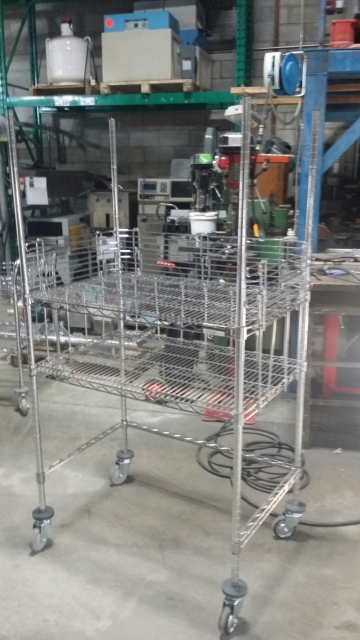 Metal Shelve on Wheels (38''  X 24''  X 38'' high)-2