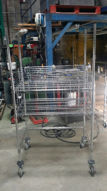Metal Shelve on Wheels (38''  X 24''  X 38'' high)-1